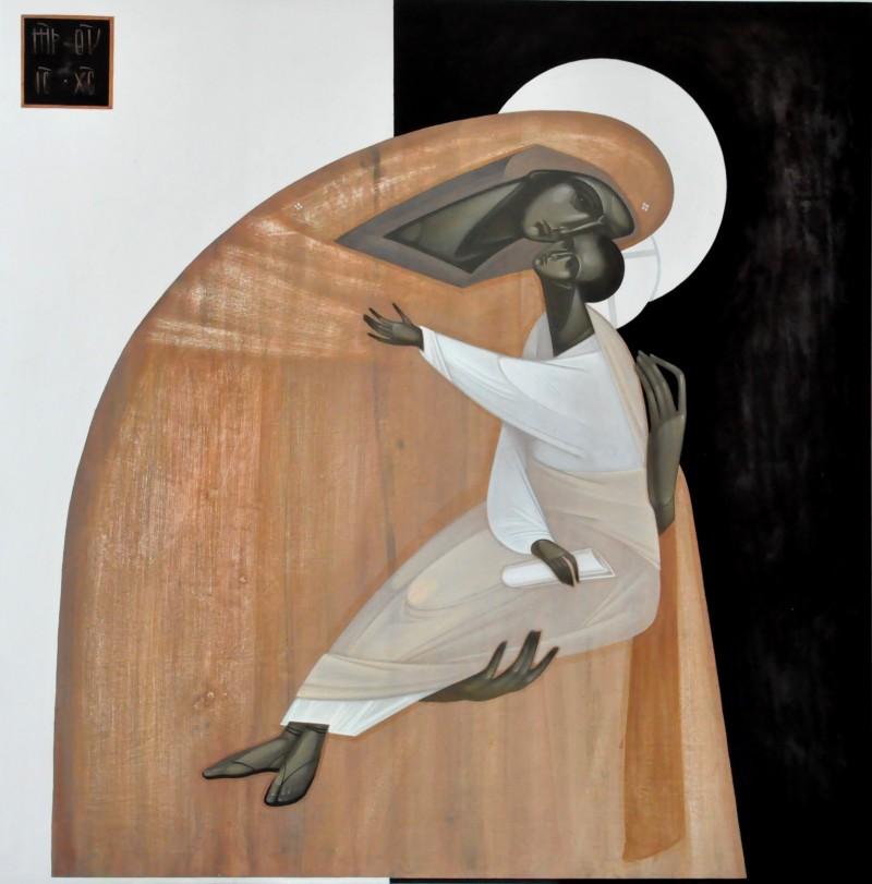 Eleusa, deska, akryl, 50 x 50 cm, Khrystyna Kvyk, 2019, fot. Krzysztof Stawecki