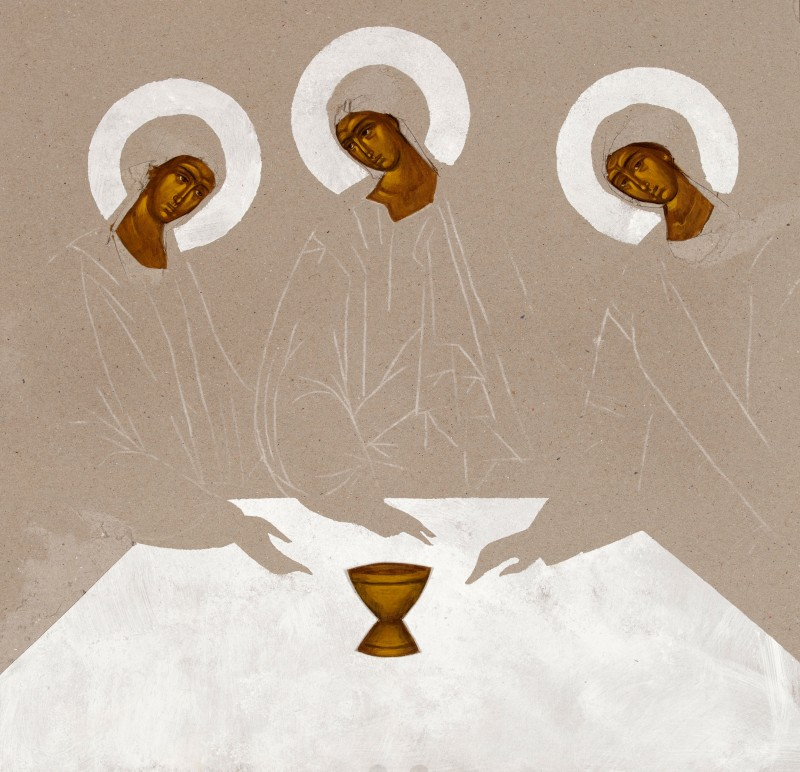 Zaproszenie, karton, tempera, 40 x 40 cm, Sylwia Perczak, 2019, fot. Piotr Dłubak